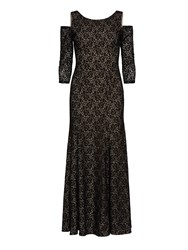 Gina Bacconi Lace Maxi Dress With Cutout Shoulder. Black