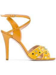 Red Valentino Embellished Sandals Yellow And Orange