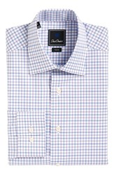 David Donahue Men's Big And Tall Trim Fit Check Dress Shirt White Purple