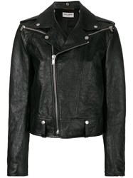 Saint Laurent Shrunken Fit Biker Jacket Cotton Calf Leather Cupro Black