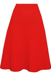 Victoria Beckham Ribbed Pointelle Knit Midi Skirt Tomato Red