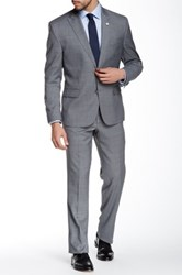 Kenneth Cole Reaction Woven Gray Two Button Peak Lapel Wool Blend Suit