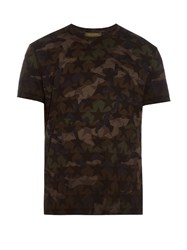 Valentino Star And Camouflage Print Cotton T Shirt Green Multi