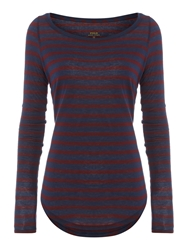 Polo Ralph Lauren Long Sleeved Crew Neck Striped Top Red
