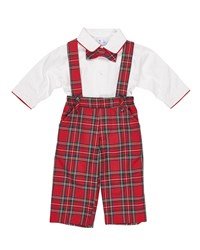 Florence Eiseman Tartan Plaid Suspender Pants W Shirt And Bow Tie Size 9 24 Months Red Green