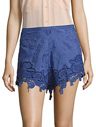 The Jetset Diaries Island Time Cotton And Silk Blend Floral Lace Shorts Cobalt