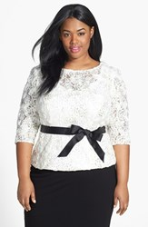 Plus Size Women's Alex Evenings Satin Rosette And Embellished Lace Top