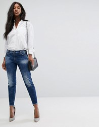 Replay Girlfriend Jean With Step Hem Dark Wash Blue