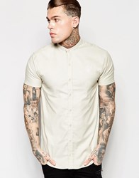 Sik Silk Siksilk Shirt With Grandad Collar In Regular Fit Sand Stone