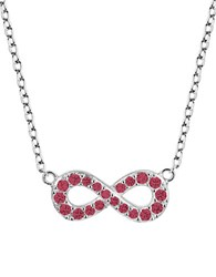Lord And Taylor Sterling Silver Infinity Pendant Necklace Red Silver