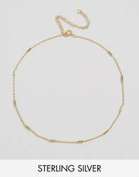 Asos Sterling Silver Fine Stick Choker Necklace Gold