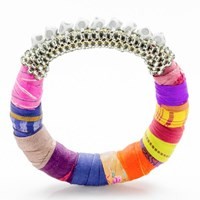 The Studioelle Colorpatch Squarelette Bangle Pewter Peacock