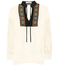 Etro Embroidered Silk Blouse White