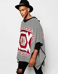 Asos Hooded Poncho In Multi Pattern
