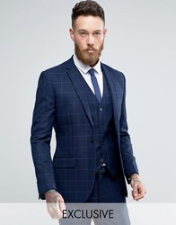 Only And Sons Super Skinny Suit Jacket In Textured Check Navy