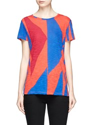 Proenza Schouler Geometric Print Cutout Tie Back T Shirt Multi Colour