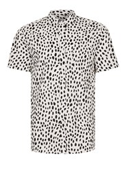 Topman Black And White Spot Dobby Short Sleeve Casual Shirt