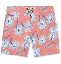 Faherty Beacon Slim Fit Long Length Printed Swim Shorts Pink