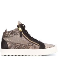 Giuseppe Zanotti Design Snake Effect Leather Mid Tops Brown