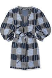 House Of Holland Belted Patchwork Checked Lyocell Mini Dress Blue