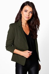 Boohoo Lined Tailored Blazer Khaki