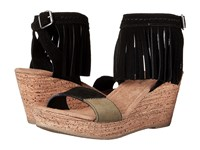 Minnetonka Poppy Black Suede Color Block Patches Women's Wedge Shoes