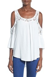 Junior Women's Socialite Lace Inset Cold Shoulder Top