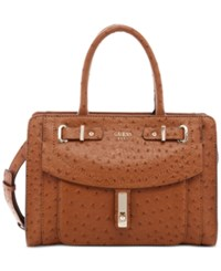 Guess Kingsley Small Satchel Cognac Ostrich Faux Leather