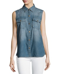 Current Elliott The Sleeveless Perfect Chambray Shirt Miner