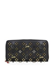 Christian Louboutin Panettone Logo Detail Studded Leather Zip Around Wallet Black