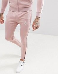 Gym King Skinny Poly Joggers In Pink With Side Stripe