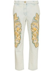 Gucci Crystal Embroidered Denim Jeans White