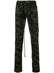 Off White Printed Slim Fit Jeans Green