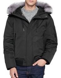 Andrew Marc New York Fox Fur Trimmed Bomber Jacket Ink