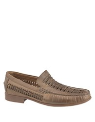 Johnston And Murphy Cresswell Huarache Weave Venetian Leather Moccasins Taupe