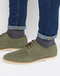 Dune Barrock Suede Lace Up Shoe Green