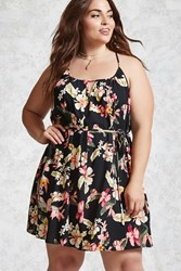 Forever 21 Plus Size Tropical Floral Dress Black Pink