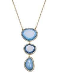Inc International Concepts Silver Tone Pave And Blue Stone Triple Pendant Necklace Only At Macy's
