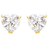 Ibb 9Ct Gold Cubic Zirconia Heart Stud Earrings Gold