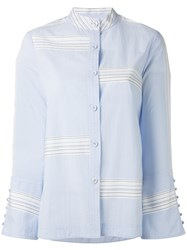 Derek Lam 10 Crosby Bell Sleeve Button Down Shirt Women Cotton 8 Blue