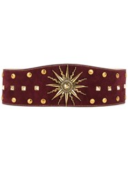 Fausto Puglisi Sundial Studded Belt Women Calf Suede Metal L Red