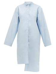 Loewe Asymmetric Oversized Cotton Shirt Blue