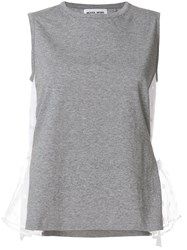Muveil Tulle Side Panel Blouse Grey