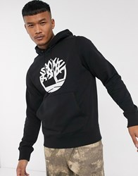 Timberland Large Chest Logo Hoodie In Black