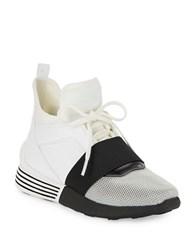 Kendall Kylie Bradin Mesh Accented High Top Sneakers White Black