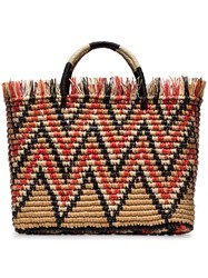 Sensi Studio Multicolour Castana Straw Striped Tote Bag Neutrals