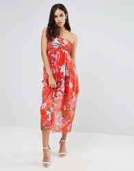 Traffic People Foral Print Bandeau Dress Red