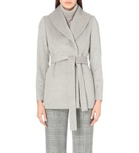 Reiss Sila Wrap Around Wool Jacket Soft Grey Melan