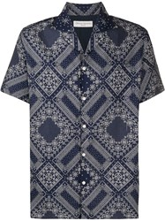 Officine Generale Geometric Print Short Sleeved Shirt 60