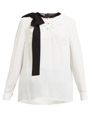 Miu Miu Bow And Crystal Embellished Crepe Blouse White